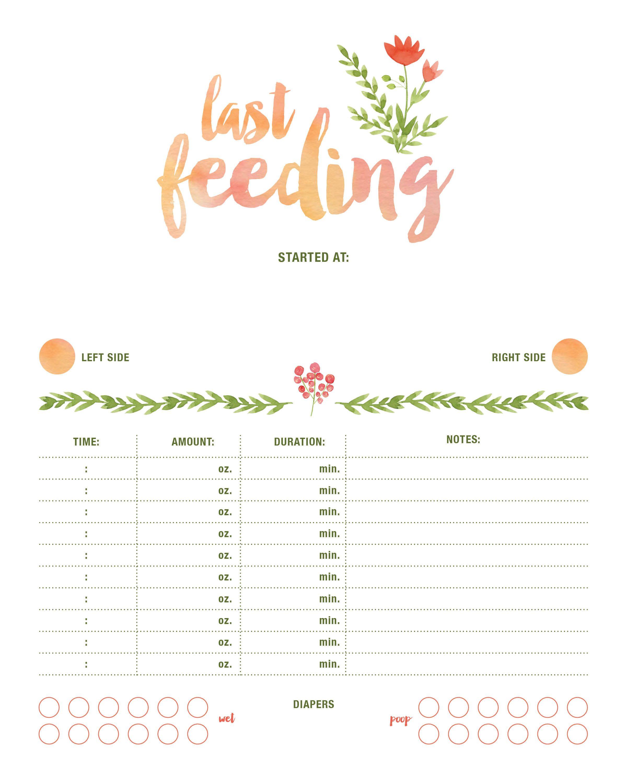 Feeding Chart Newborn Feeding Tracker Newborn Chart Baby