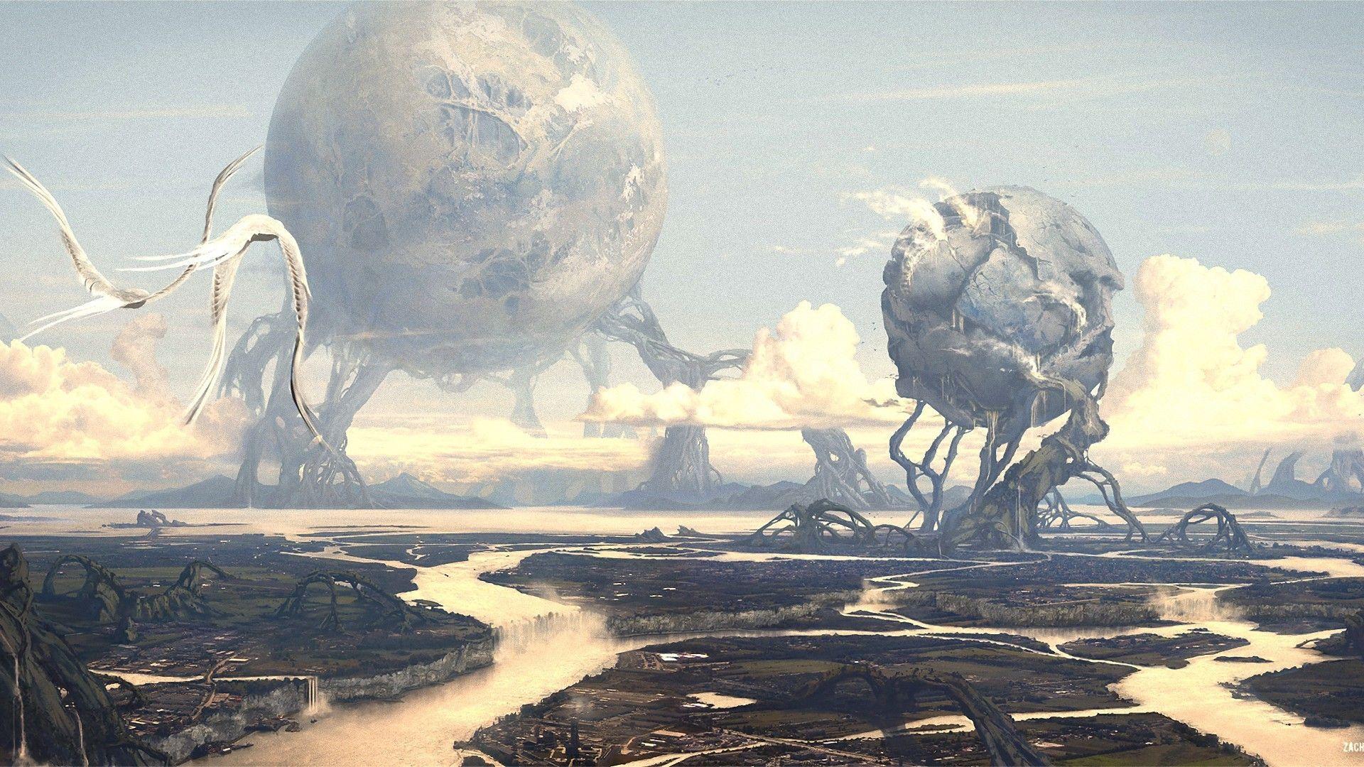 Sci Fi Landscape Wallpaper Art World Fantasy Art World Wallpaper