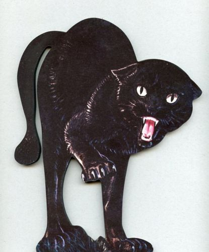 Halloween Scary Black Cat Wood Stand Up Plaque Decor Mounted on Base