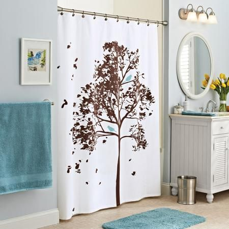 Better Homes And Gardens Farley Tree Fabric Shower Curtain - Better homes and garden bathroom accessories for bathroom decor ideas