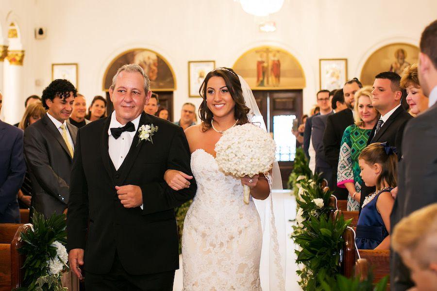 Bride and Father Walking Down the Aisle Wedding Portrait at Wedding Ceremony Venue St Nicholas Greek Orthodox Cathedral Tarpon Springs, FL