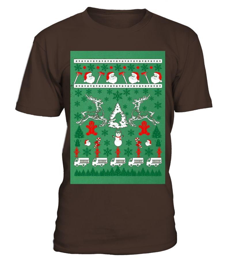 f418d76d8cd8a Firefighter Fireman Ugly Christmas Sweater Xmas Funny Firefighter T-shirt