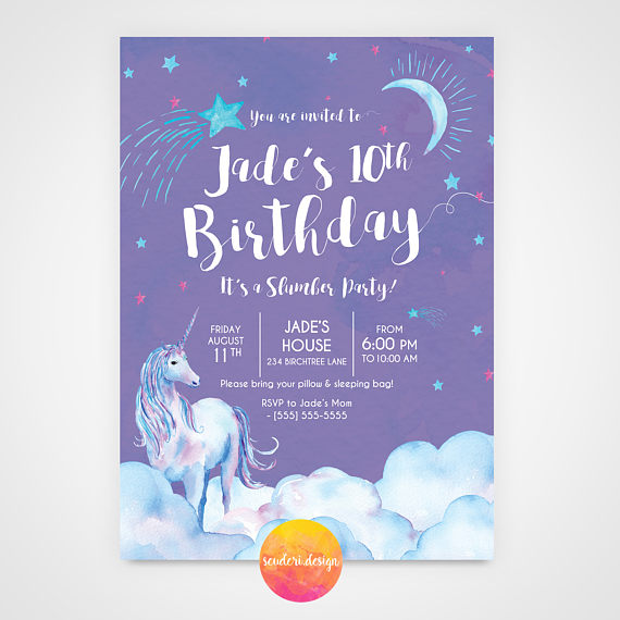 Unicorn Birthday Invitation Slumber Party Invite 5x7 Purple