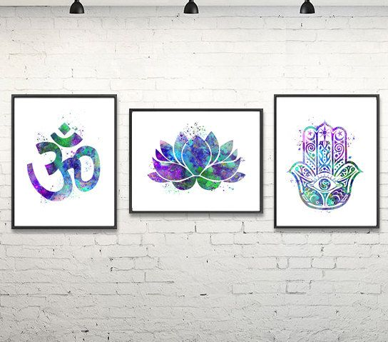 Om Meditation Watercolor Poster, Yoga, Hamsa, Relax, Buddha, Home Decor, Wall Art, Yoga Studio, Painting, Purple Blue, Green - s-265-266-269 #buddhadecor