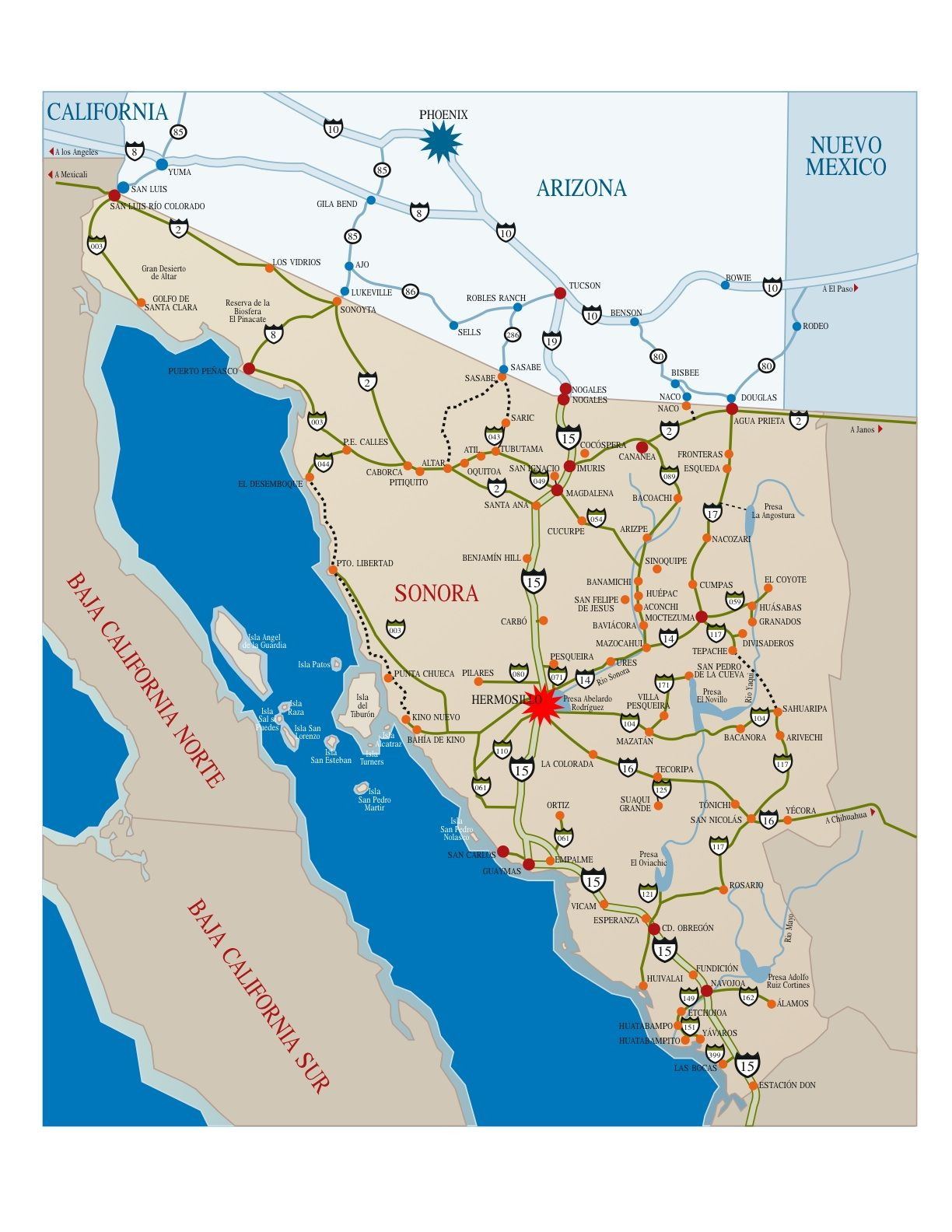 Map Of Rocky Point Mexico Map to Rocky Point, Mexico | Eastern Pacific Seashells | Puerto