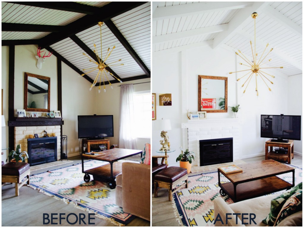 Painted Ceiling Beams Before After