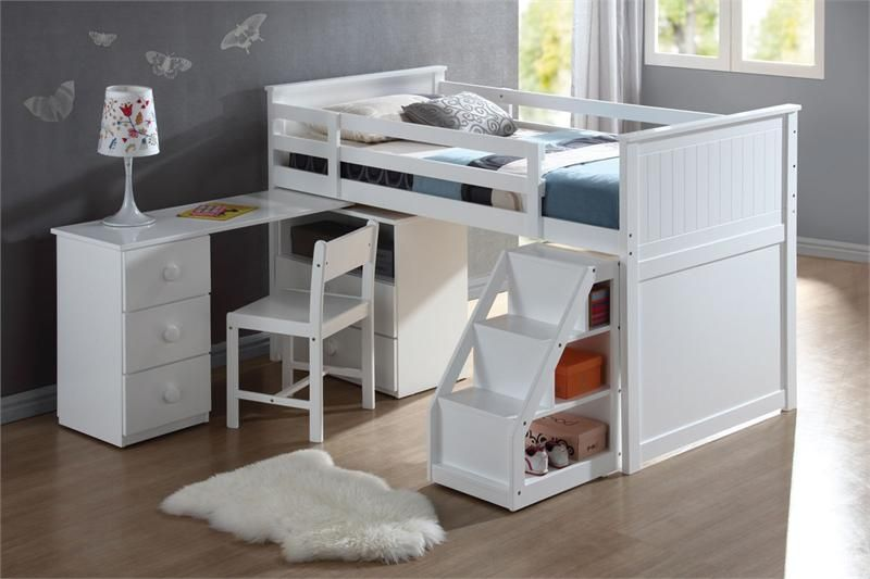 White Junior Stairway Twin Loft Bed W Desk For The Home