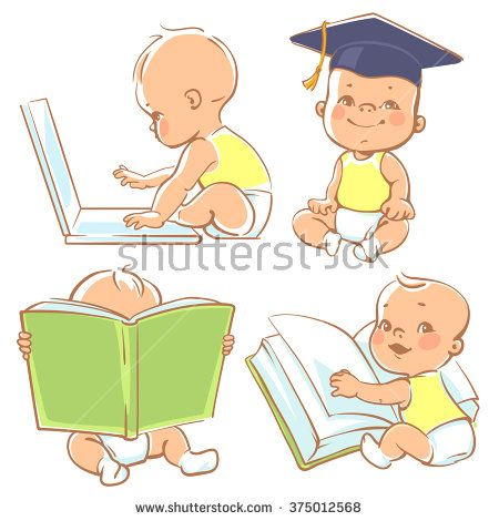 Baby reading. Set with cute babies