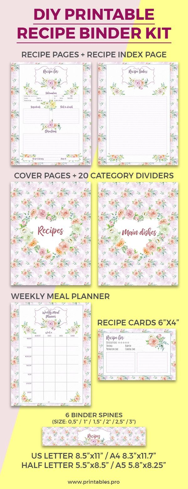 Printable Recipe Binder Kit With Dividers Binder Cover Category Dividers Binder Spines Recipe Pages Printable Recipe Cards Recipe Binder Kit Recipe Cards