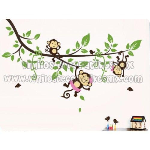 Vinilos infantiles de changuitos colgando de ramas deluxe for Vinilos infantiles nino