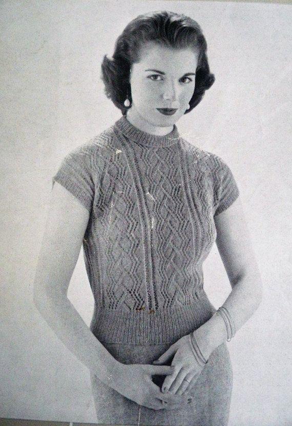 267e016cb077 Vintage Knitting Pattern 1950s 1960s Women s Sweater Jumper Lacy ...