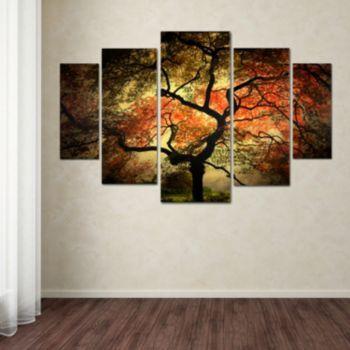 japanese tree 5piece canvas wall art set multicolor