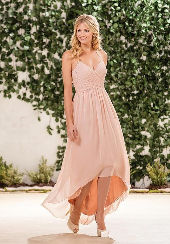 47050bb864 2017 Cheap Beach Blush Pink Bridesmaid Dresses Halter Chiffon High Low  Length Wedding Guest Wear Party Dress Plus Size Maid of Honor Gowns Short  Bridesmaids ...