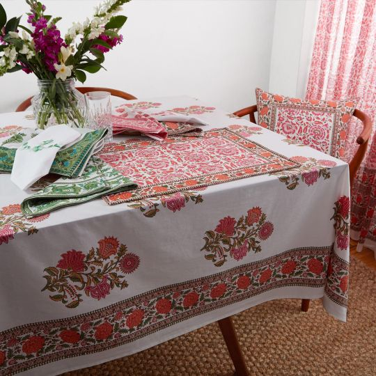 Sanya Tablecloth Pink Orange Table Cloth Indian Block Print Colorful Table