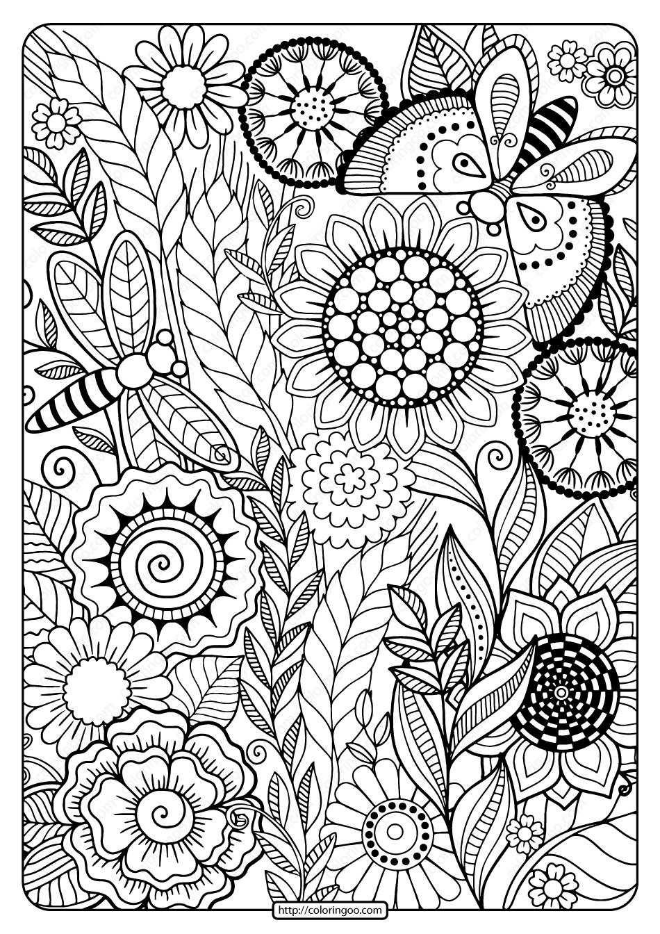 Printable Summer Flowers Pdf Coloring Page Summer Coloring Pages Mandala Coloring Pages Flower Coloring Pages