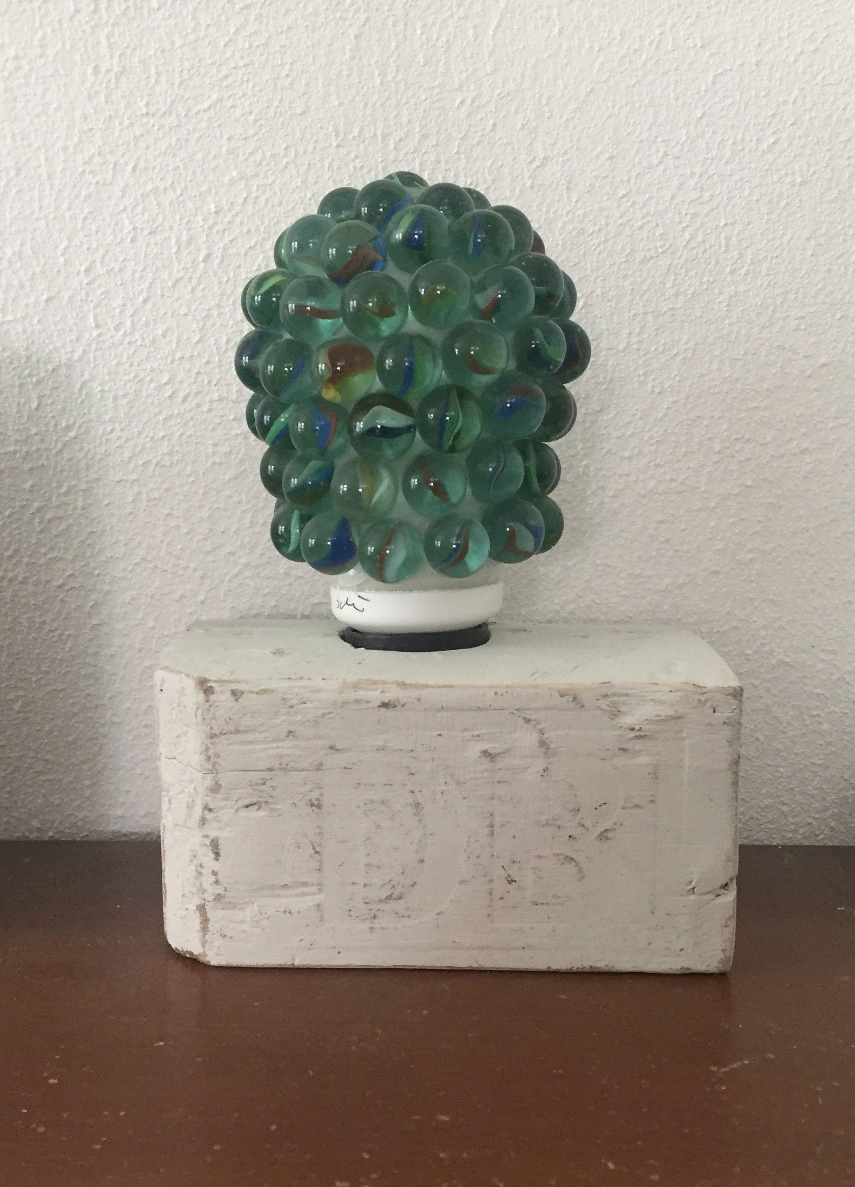 Murmellampe mit Lampenfuss aus alter Palette