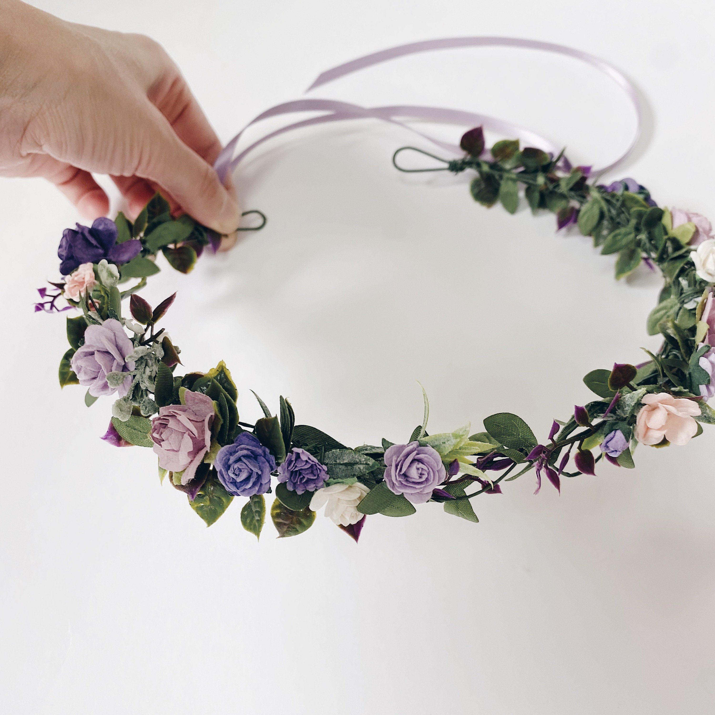Lavender flower crown with greenery Bridal headpiece Lavender wedding wreath Blush purple Floral halo Flower girl Maternity Bridesmaid crown