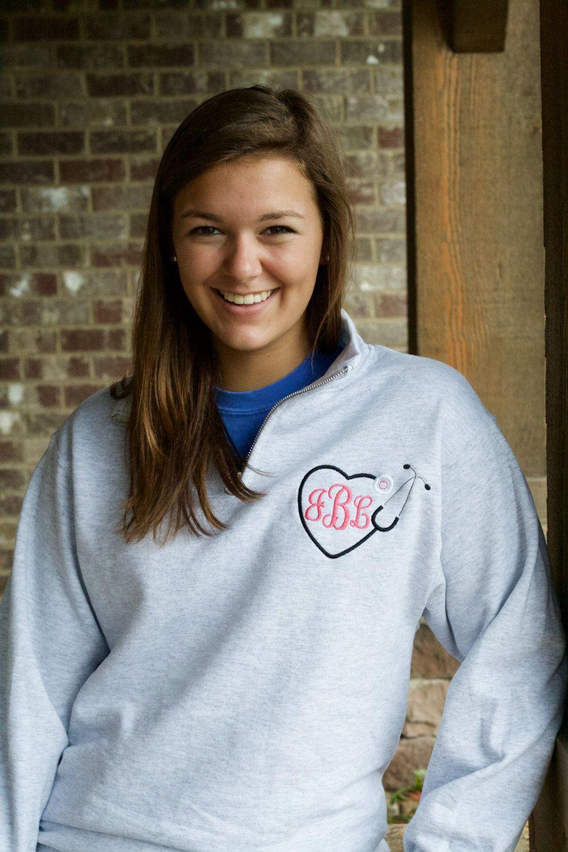 nurse monogram sweatshirt quarter zip  stethoscope monogram design  women u0026 39 s clothing