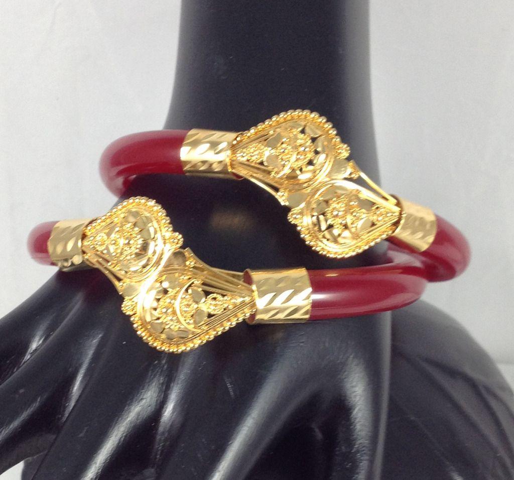 Handmade Indian Ethnic 14K Gold Plated Pola Bracelets Muan Bangles ...