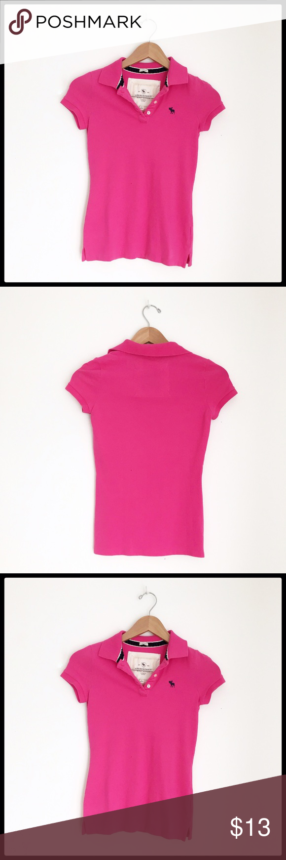 Abercrombie Fitch Bright pink Abercrombie Stretch Polo Shirt! Great condition! Abercrombie & Fitch Tops Tees - Short Sleeve