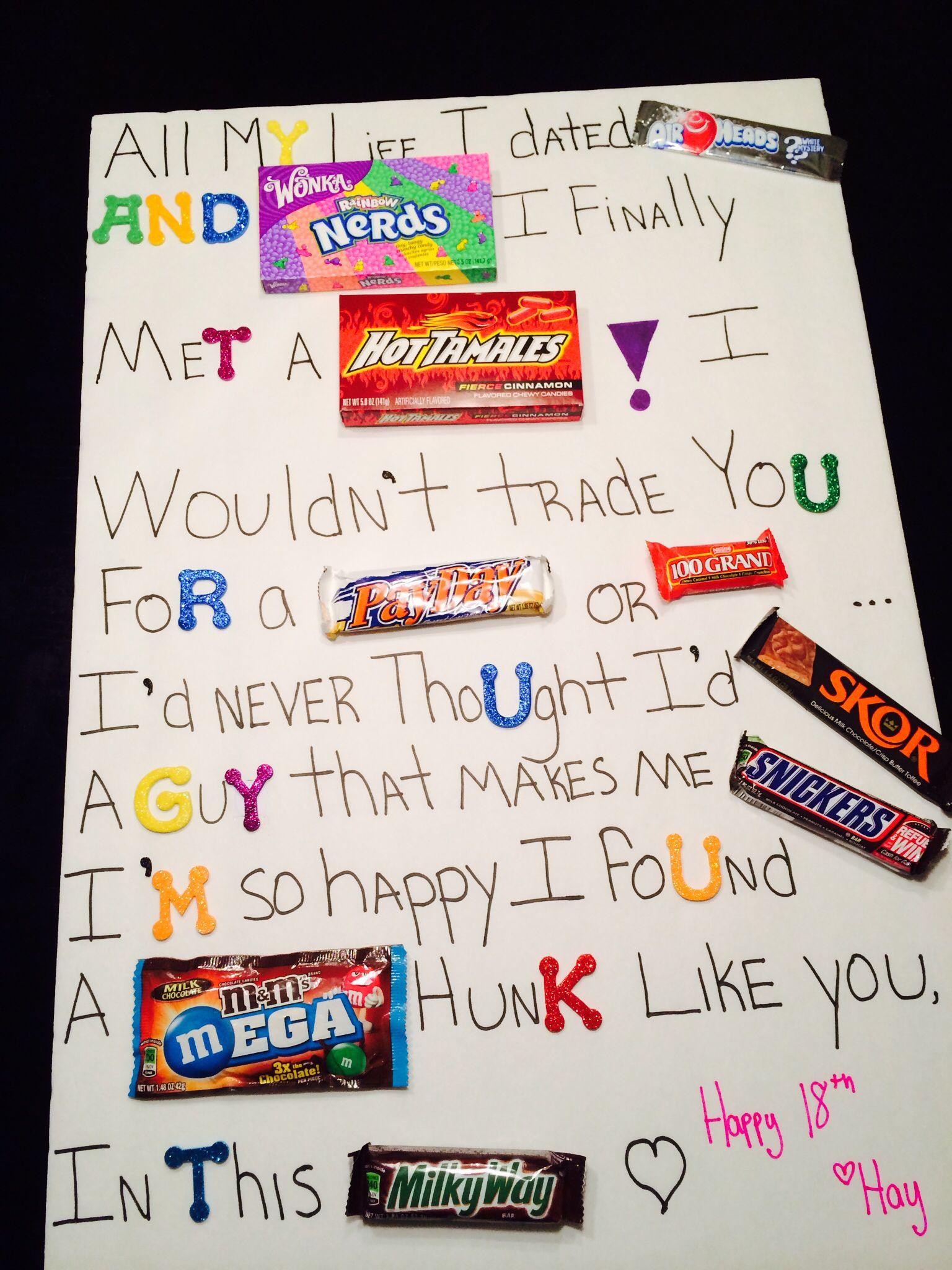 Candy board for boyfriend