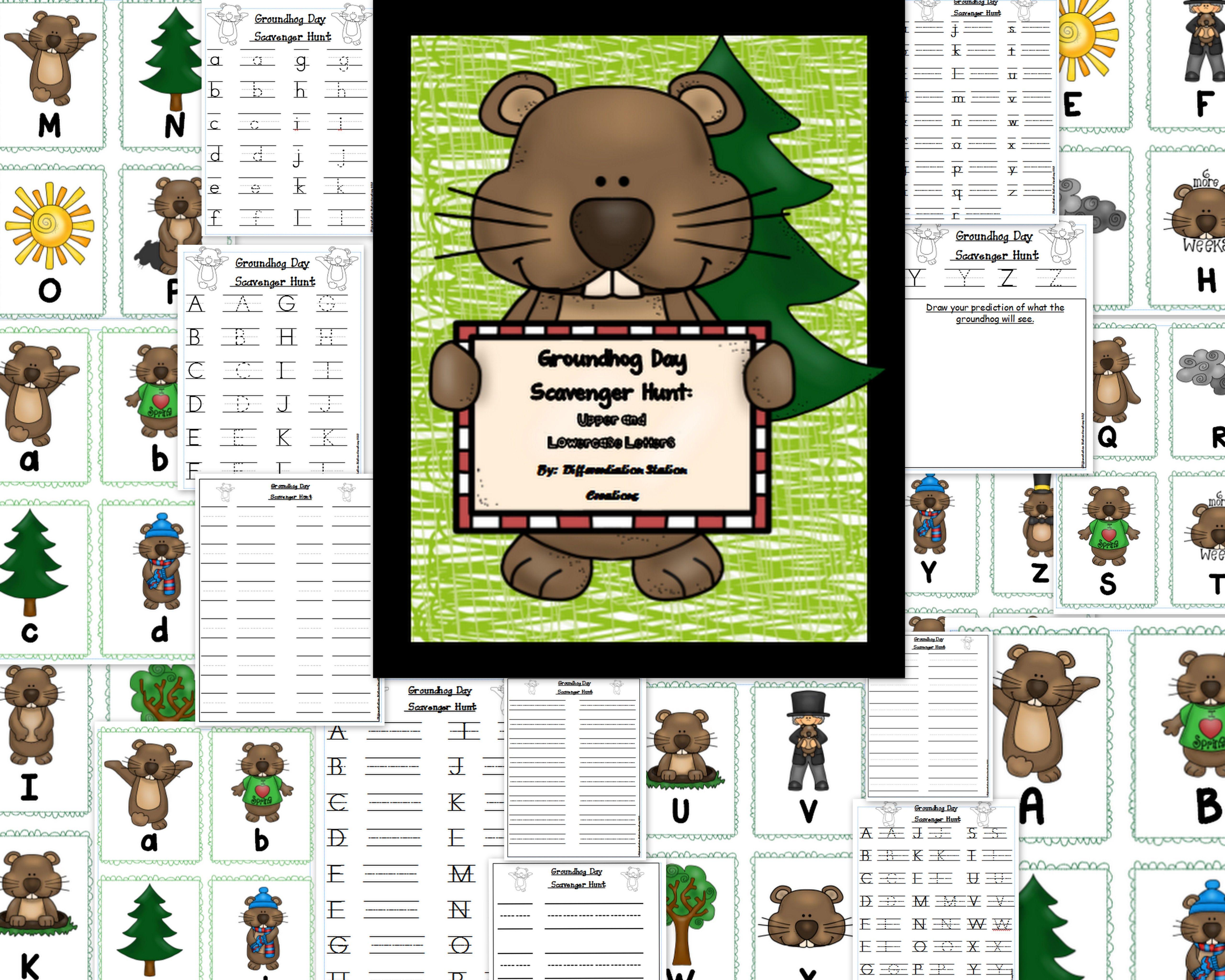 Groundhog Day Alphabet Scavenger Hunt Upper And Lowercase Center Amp Printables