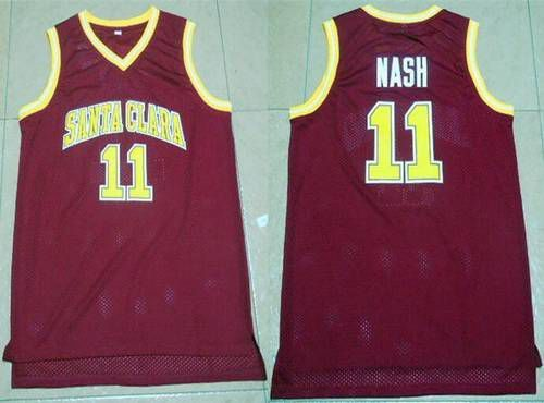 Men's Santa Clara University #11 Steve Nash Red College Basketball Swingman Jersey