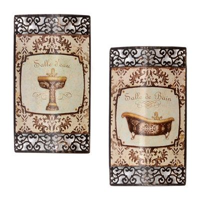 French Bath Metal Wall Art Set Of 2 Ideas For Bathrooms Metal