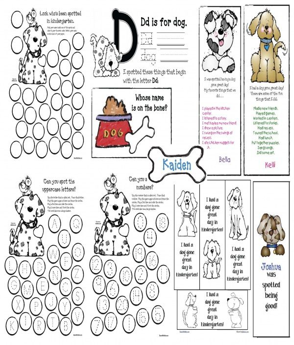 """FREE 27-page back to school puppy packet.  Worksheets for a variety of things: Students """"spot"""" their name and color it their favorite color.  Quickly & easily whole-group assess shapes, numbers and upper and lowercase letters by playing """"I Spy"""".  Students have fun, & you can see at a glance who's having difficulty.  Includes bookmarks, writing prompts & games."""
