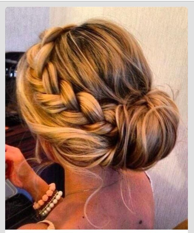 Cute messy updo with braid