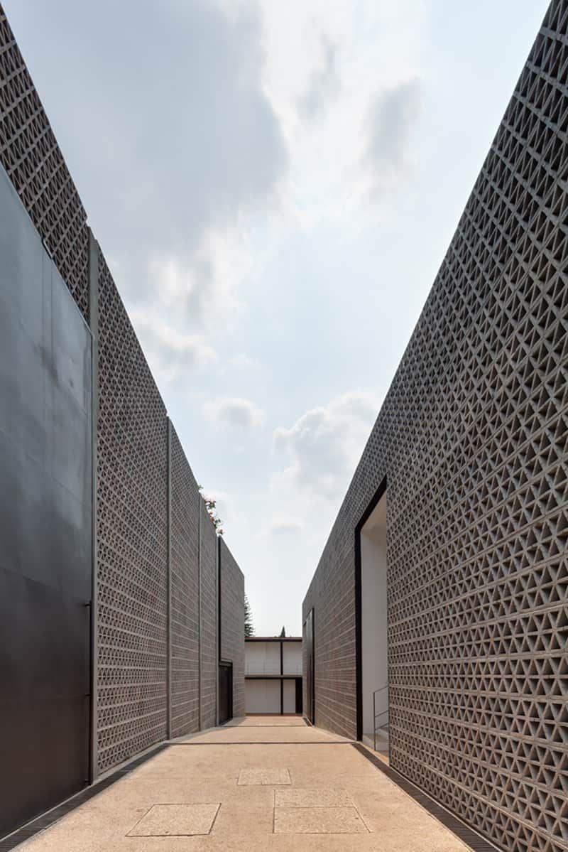 Perforated Concrete Walls La Tallera By Frida Escobedo In 2020 Facade Architecture Brick Architecture Facade Design