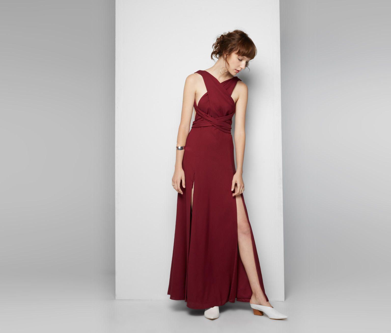 Dark burgundy kendall multiway dress fame u partners australia