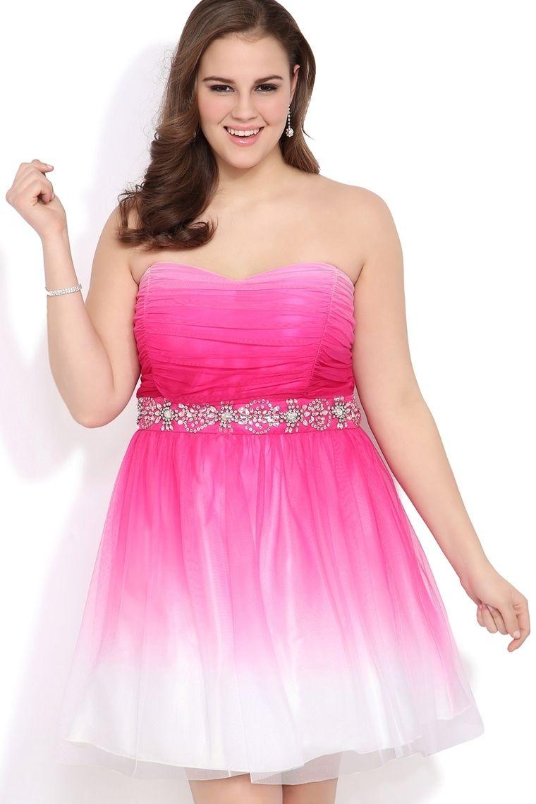 Plus Size Ombre Strapless Prom Dress With Chunky Stone Trim Waist ...