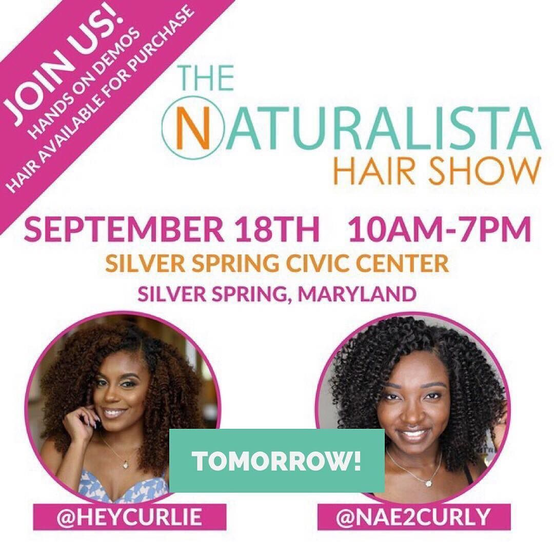 DMV! TOMORROW! September 18th we will be in the house at @thenaturalistahairshow  with special guests @nae2curly & @heycurlie  in the KinkyCurlyYaki EXPERIENTIAL SUITE with demos on how to rock #kinkycurlyyaki clips ins & wigs! There will be a FREE WORKSHOP class at 1pm featuring top stylist Carissa Bernard from @thenstitute showing you how to easily work our clip ins into your protective style arsenal. And of course we will have hair on hand for purchase with exclusive onsite discount…