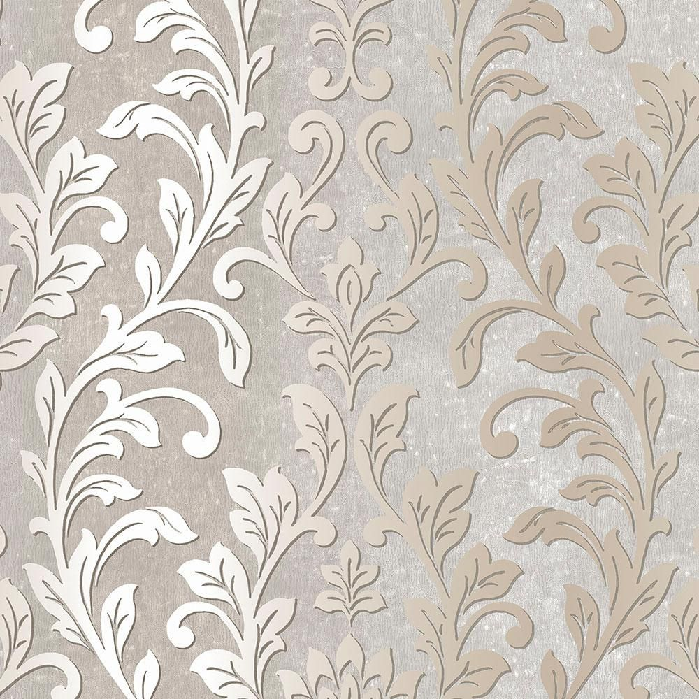 Norwall Silver Leaf Damask WallpaperTX34844 The Home