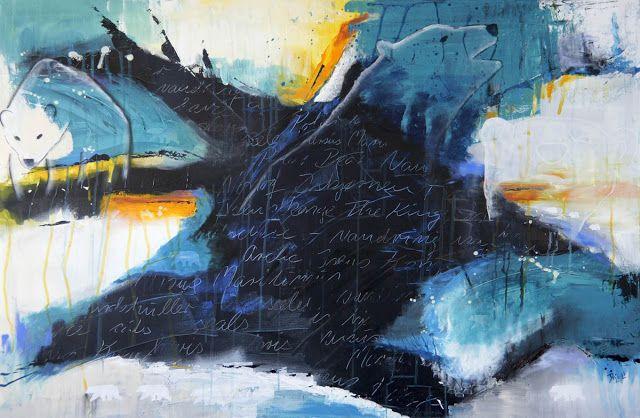 Doo it - just doo it: STORT lærred - åh, det er skønt (Polar bear, acrylics, 150 x 100 cm)