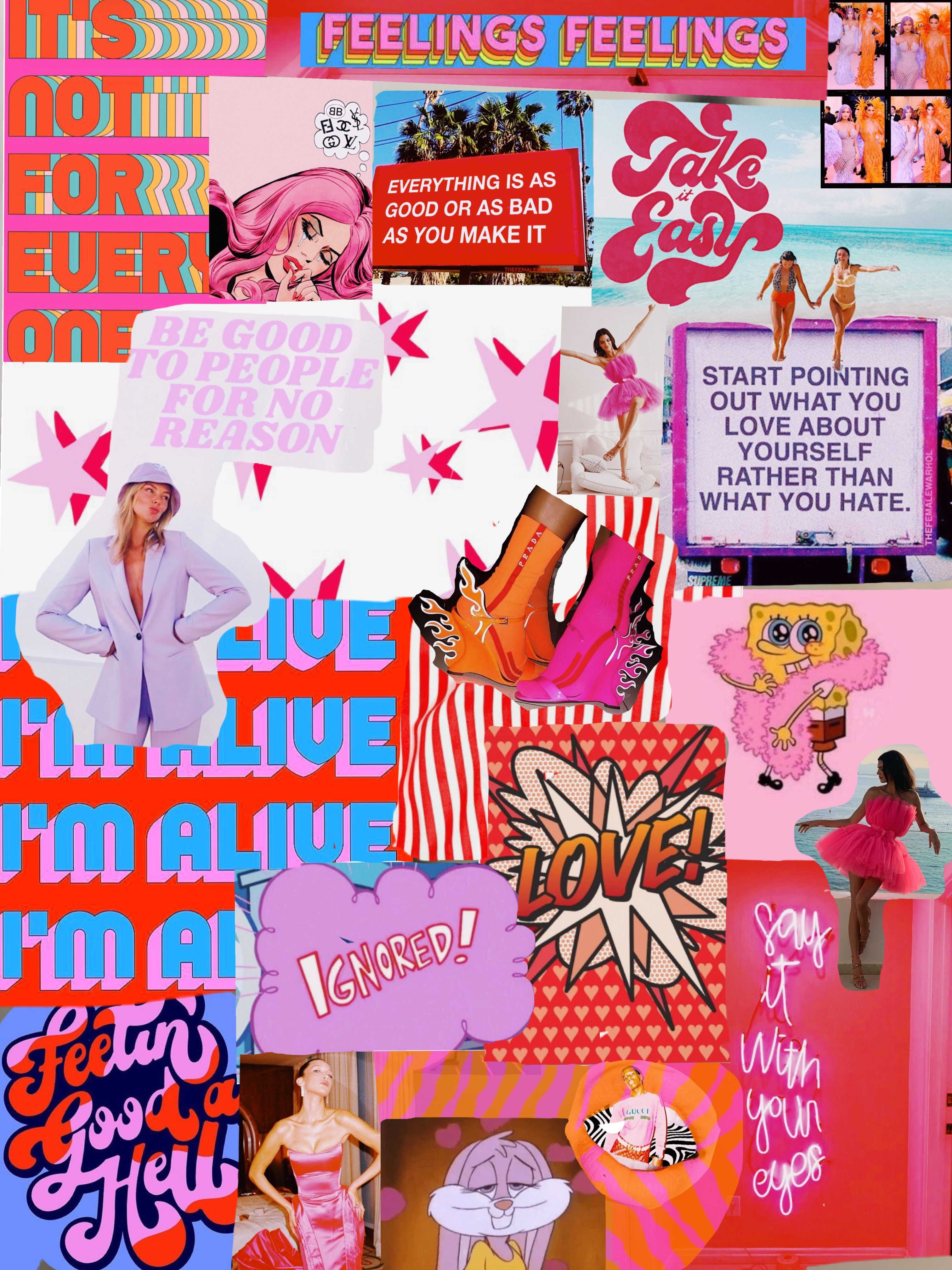Trendy VSCO red and pink collage Poster Collage poster
