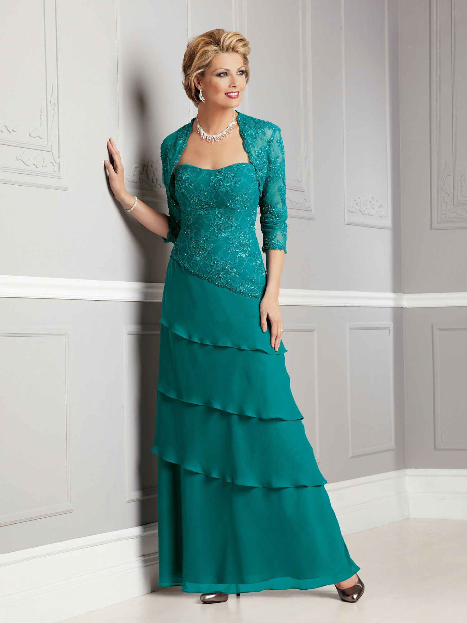 A-line Strapless Floor-length Chiffon Mother of Bride Dress | for ...