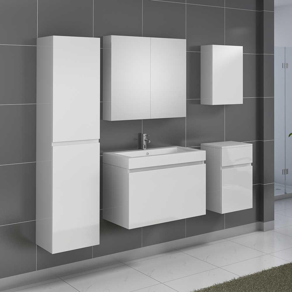 Badezimmermöbel Set mit Waschtisch Weiß Hochglanz (5-teilig) Jetzt ...