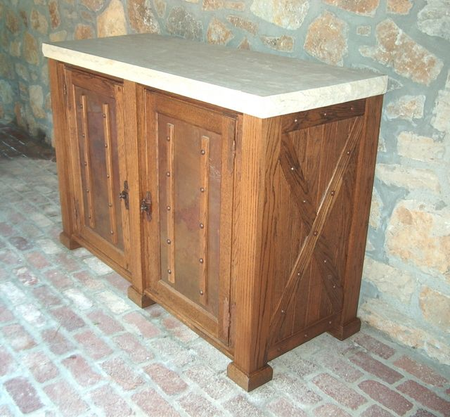 outdoor oak refrigertor console with copper doors and chiseled edge limestone top a