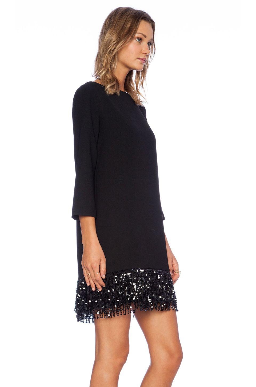 Kate spade new york sequin fringe mini dress in black revolve