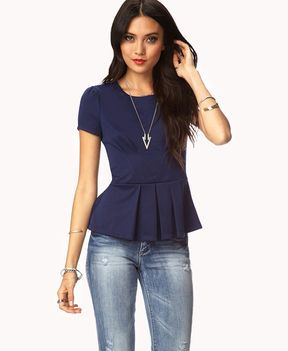 FOREVER 21 Essential Pleated Peplum Top on shopstyle.com