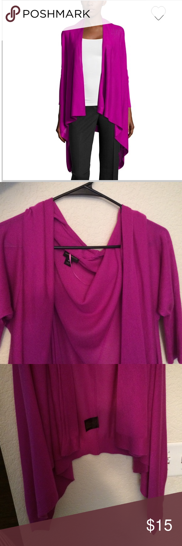 """Fly Away Cardigan A Beautiful Rich Pinkish Purple solid drapey cardigan has a flyaway design and back seam detail  3/4 sleeves approx. 36¾-38"""" length Worthington Sweaters Cardigans"""