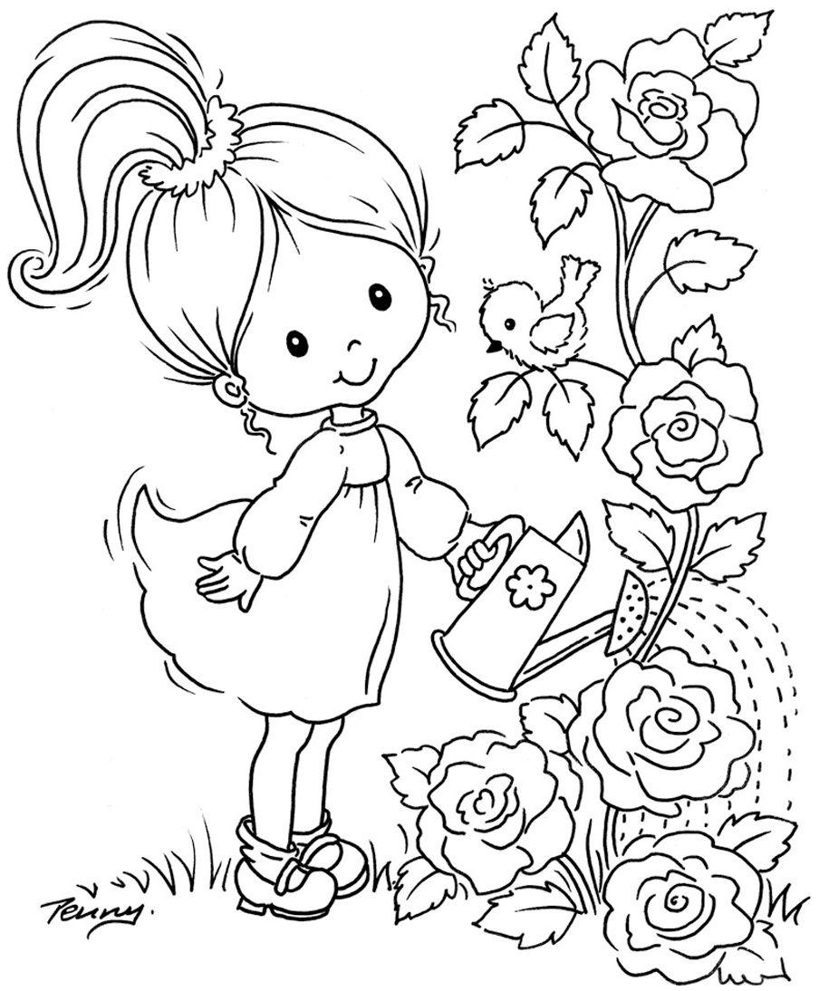 Картинки девочка с цветами раскраска