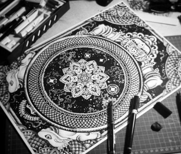 1001 Idees Et Techniques Pour Faire Un Mandala Mandala Comment Faire Une Rosace Dessin De Fleur