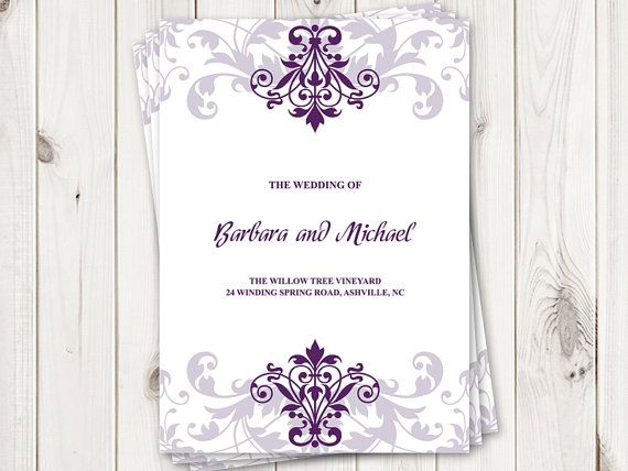 Printable Wedding Program Template Elegant Ironwork With - Wedding invitation templates: wedding program template word