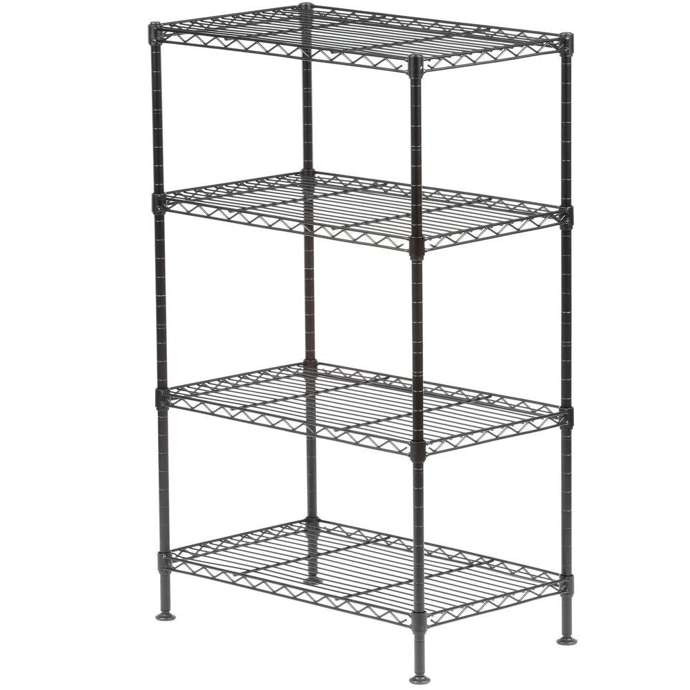 Sandusky 32 In H X 20 In W X 12 In D 4 Shelf Light Duty Wire Shelving Unit In Black Ws201232 B Wire Shelving Units Wire Shelving Steel Shelving Unit