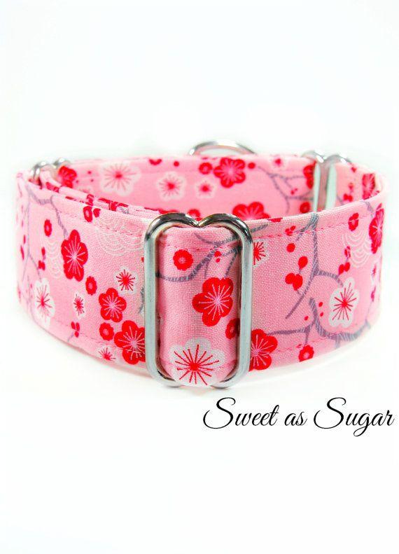 Pink Martingale Dog Collar Girly Dog Collar 2 Inch Custom Wide
