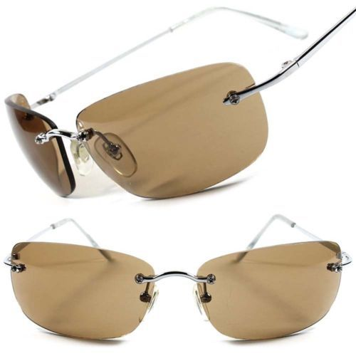 06093caaa38 Brown-Lens-Mens-Womens-Stylish-Frameless-Wrap-Rectangle-Aviator-Sunglasses -A65