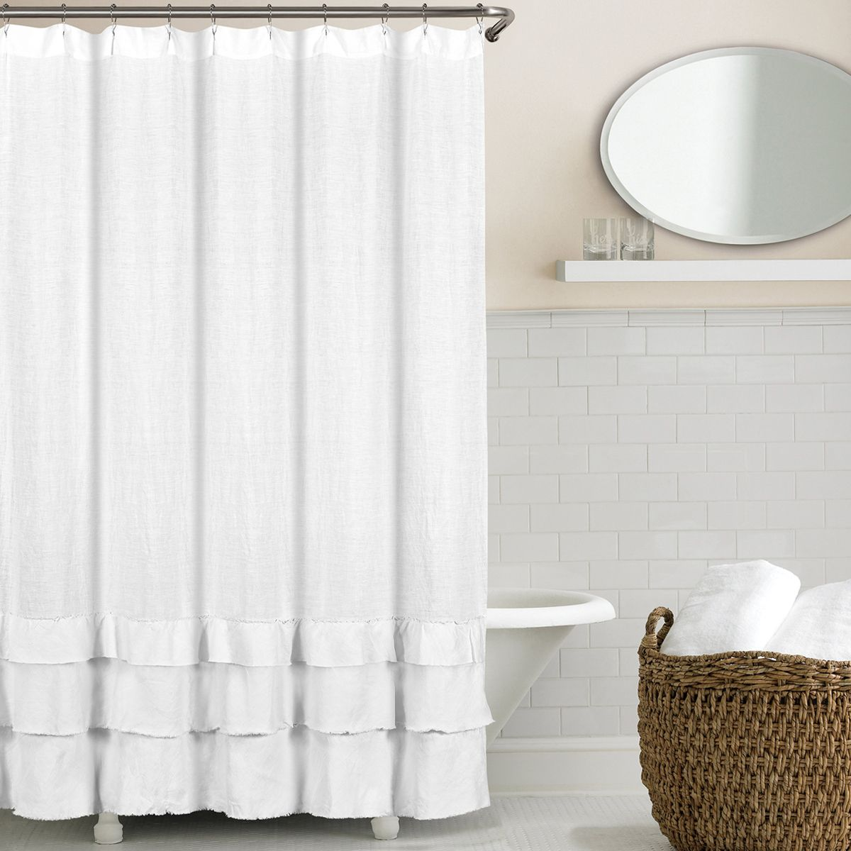 New Ruffled 100 Linen Shower Curtains Feature Three Tiers Of Raw Edge Linen Ruffles Made With Our Signature Washed Belgian Linen Fabric I Home Decor Wayfair